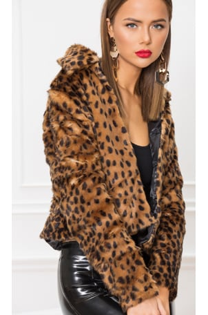Casey Leopard Faux Fur Coat