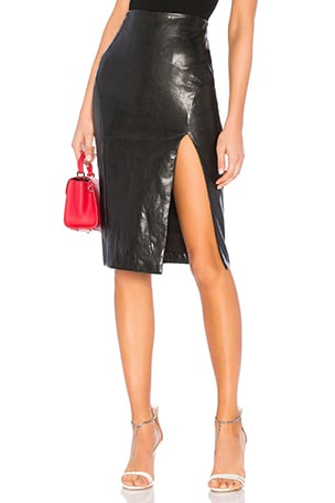 Jezabel Faux Leather Midi Skirt