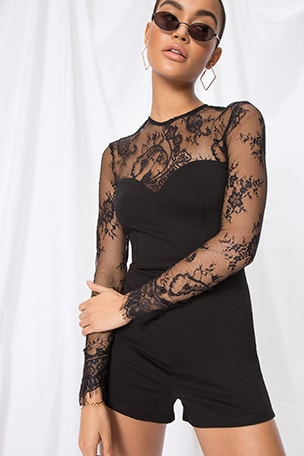 Veronica Lace Sleeve Romper