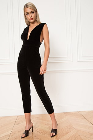 Gloria Deep V Velvet Jumpsuit