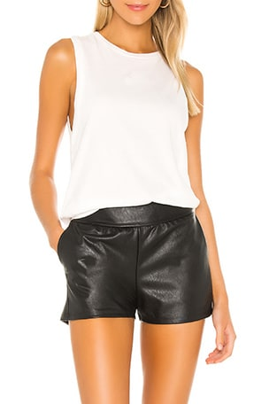 Faux Leather Jogger Short