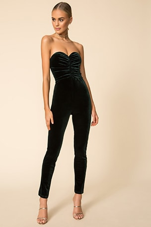 Angelina Ruched Strapless Jumpsuit
