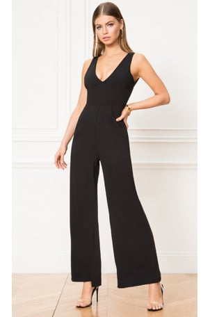 Carmela Deep V Wide Leg Backless Jumpsuit