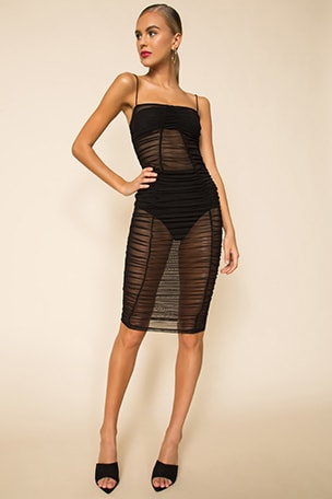 Belinda Ruched Mesh Dress