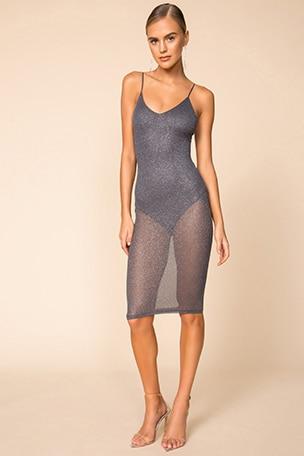Justene Sheer Glitter Dress