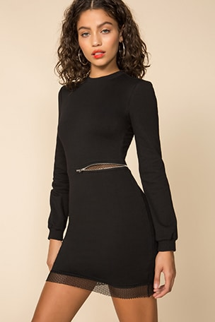 Iselia Fishnet Sweatshirt Dress