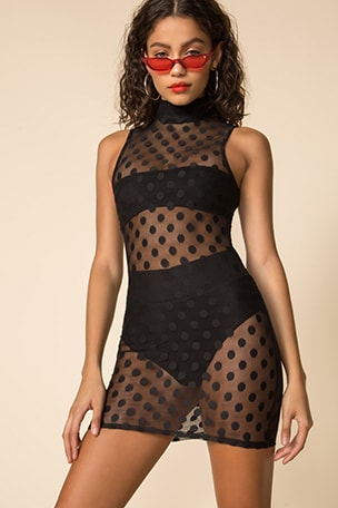 Carolyn Mesh Mock Neck Dress