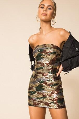 Quinn Camo Sequin Dress