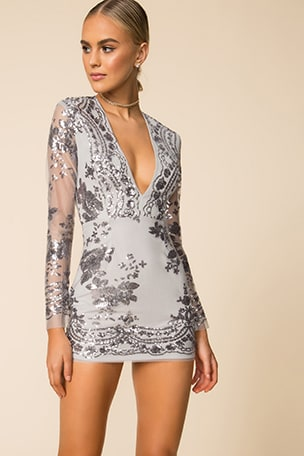 Jessa Deep V Mini Dress