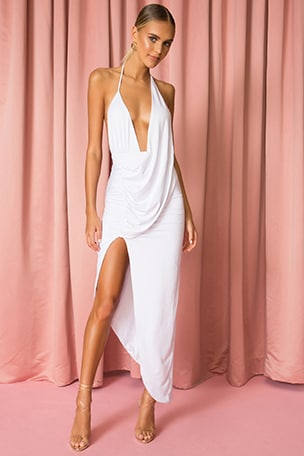 Mia Drape Slit Dress