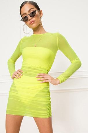 x REVOLVE Angela Ruched Mesh Dress