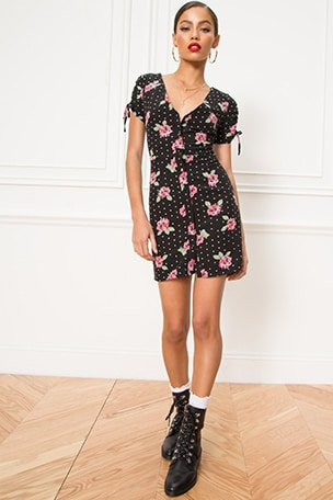Lainie Button Mini Dress