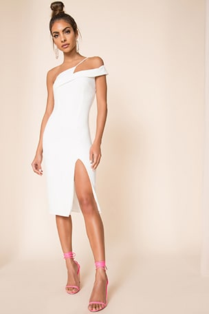 Jillian Asymmetric Midi Dress