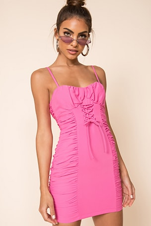 Crystal Ruched Cami Dress