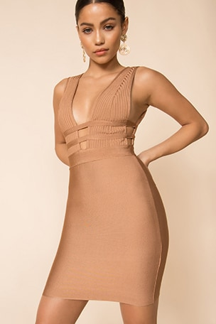 Sasha Deep V Bandage Dress