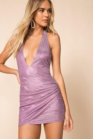 Hannah Shimmer Halter Dress