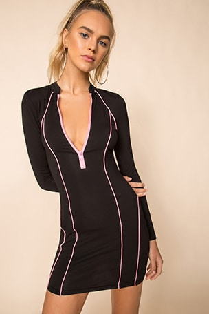 Marina Zip Front Dress Black & Pink