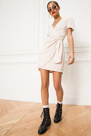 Dione Buckle Wrap Mini Dress