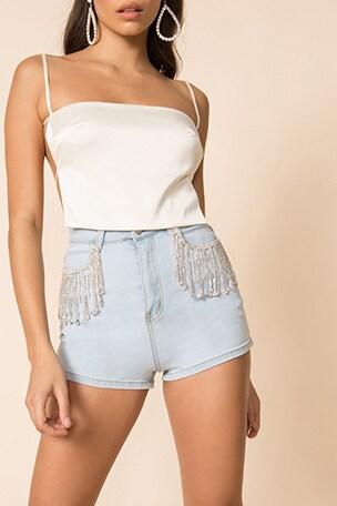 Daisy Rhinestone Shorts