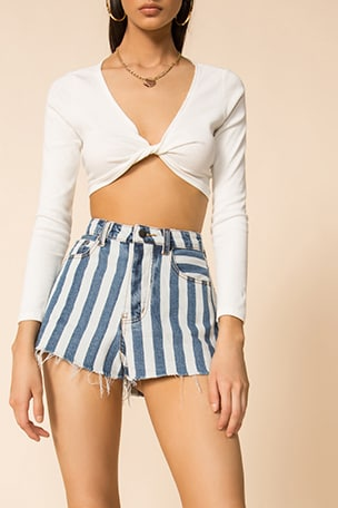 Sydney Striped Denim Shorts