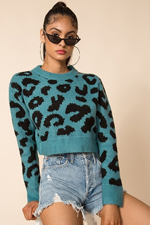 Veronica Cropped Leopard Sweater