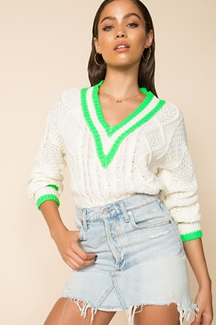 Karen Deep V Sweater