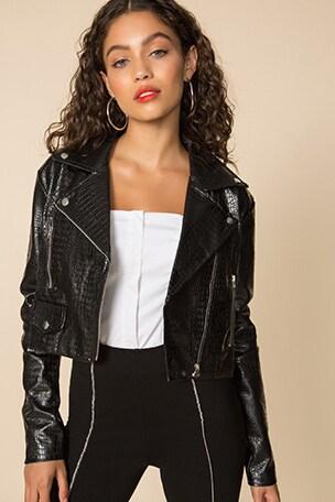 Colette Cropped Moto Jacket