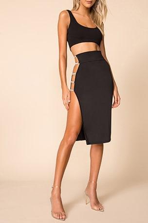 Alora Rhinestone Strap Skirt