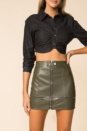 Janice Moto Mini Skirt