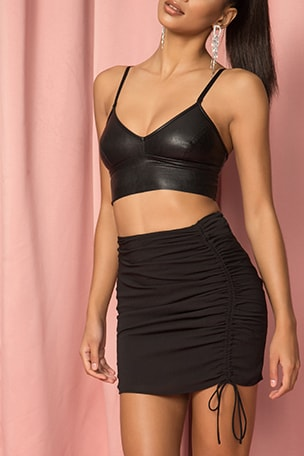 x Draya Michele Krissie Ruched Mini Skirt