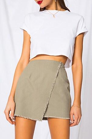 Callie Frayed Wrap Skirt