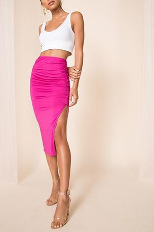 Tiffani Ruched Midi Skirt