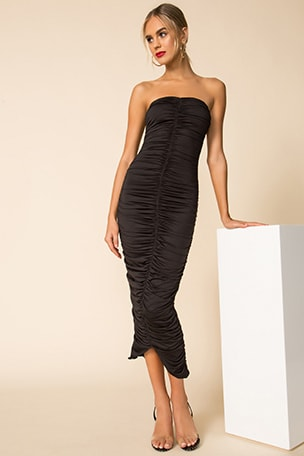 Ruched Strapless Bodycon Dress