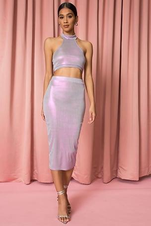 Iridescent Midi Skirt Set