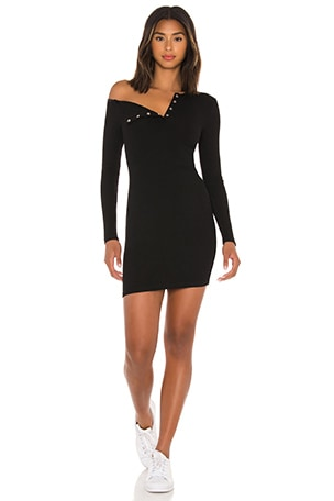 Asymmetrical Neck Mini Dress