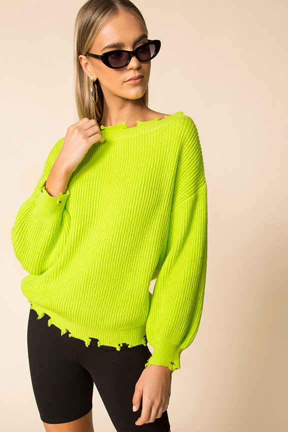 superdown Clara Off Shoulder Sweater in Neon Green