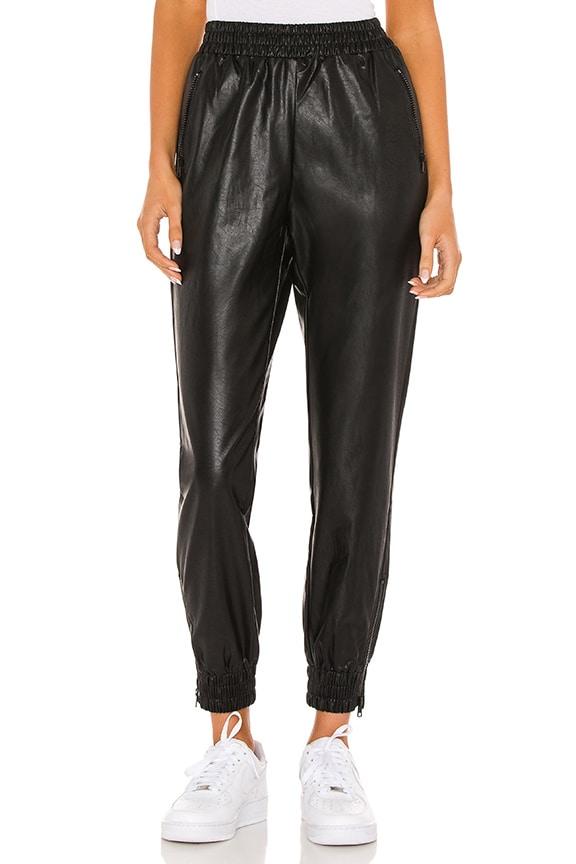 Superdown rinah black faux leather jogger pants