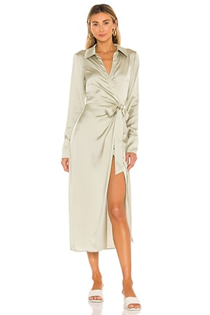 Maggie Wrap Dress in Olive