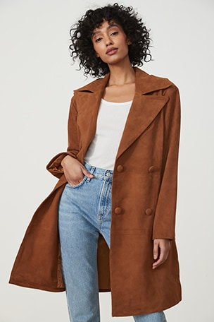 Song Leather Trench Coat