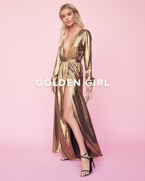 Golden Girl. Get glowing with the sparkliest & shiniest styles of the season.