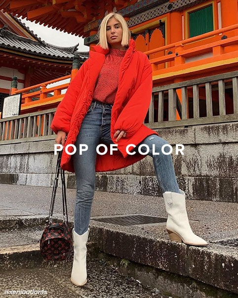Pop of Color. Add bold pops of color to brighten up your cold-weather look