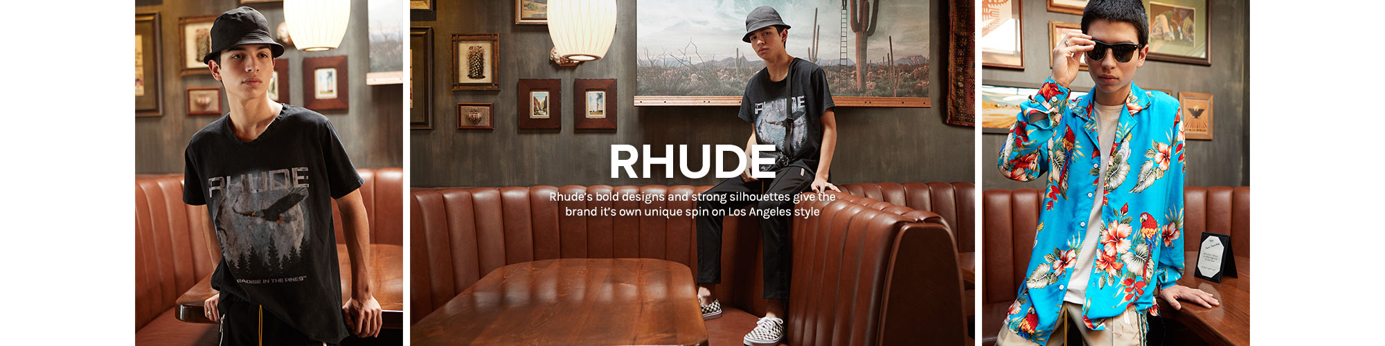 RHUDE. Rhude\u2019s bold designs and strong silhouettes give the brand it\u2019s own unique spin on Los Angeles style.
