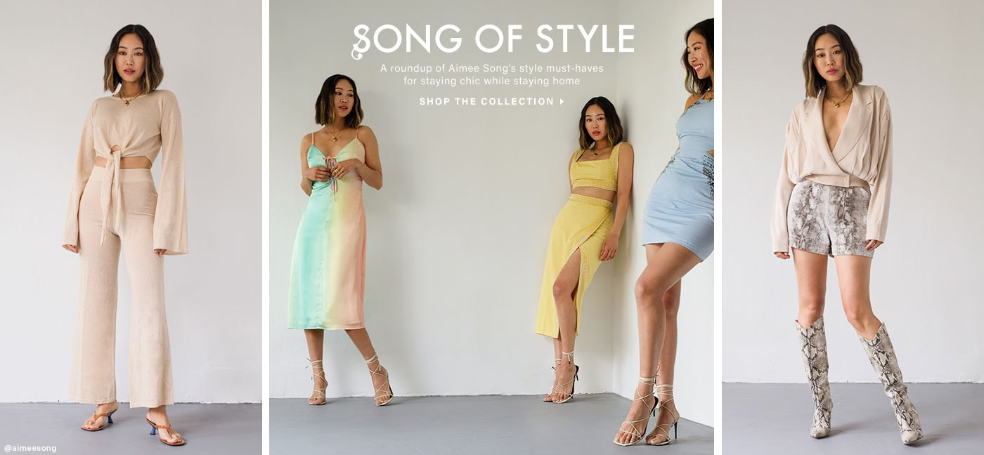 Song of Style. A roundup of Aimee Song\u2019s style must-haves for staying chic while staying home. SHOP THE COLLECTION