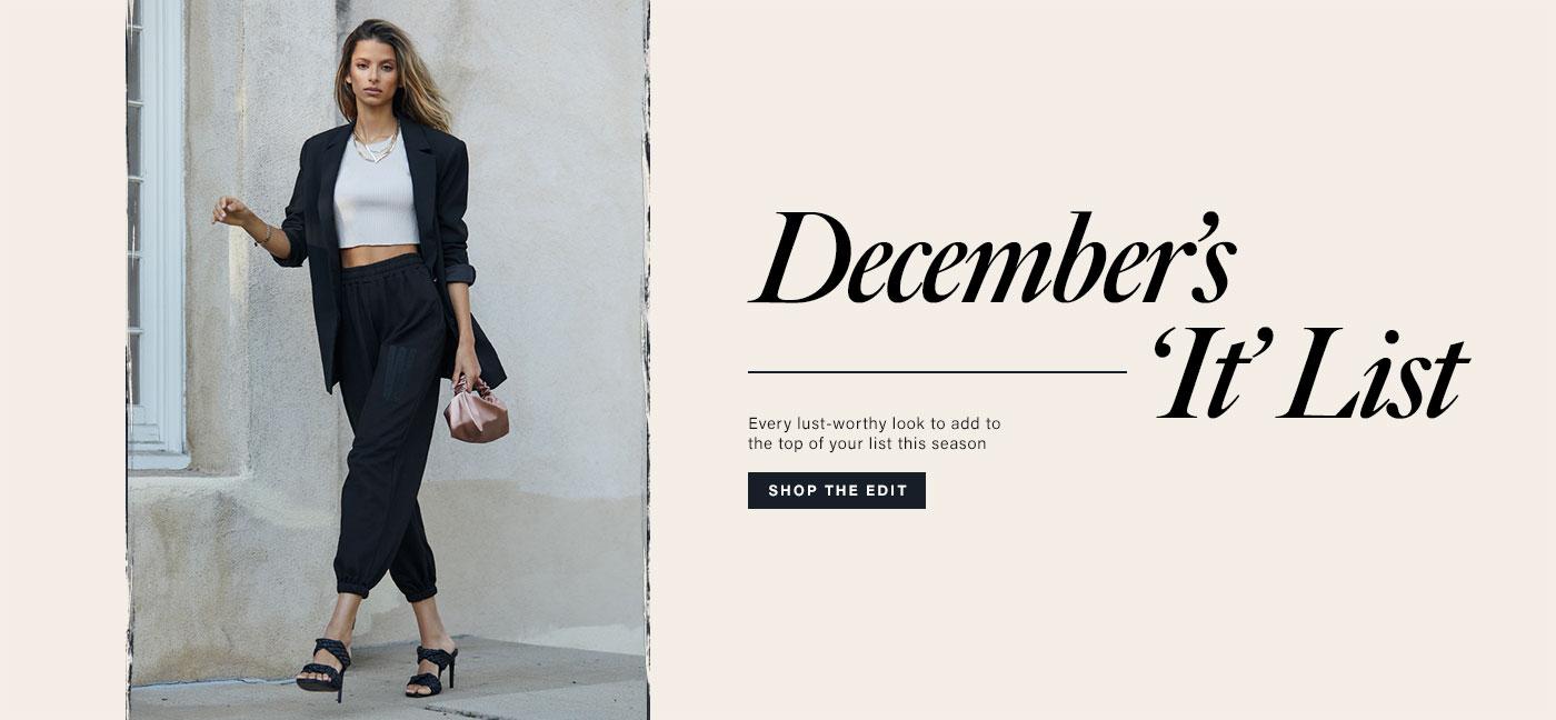A model walking on a sidewalk wearing a black blazer, a white crop top, black sweatpants, and black heels. December\u2019s \u2018It\u2019 List. Shop the Edit.