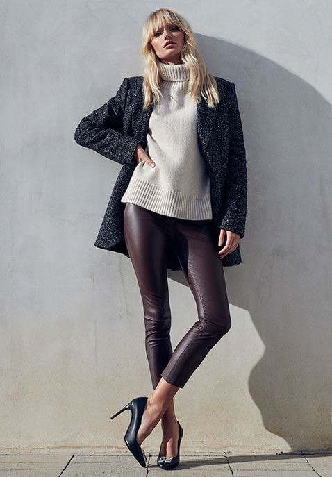 High Waist 3/4 Leather Legging