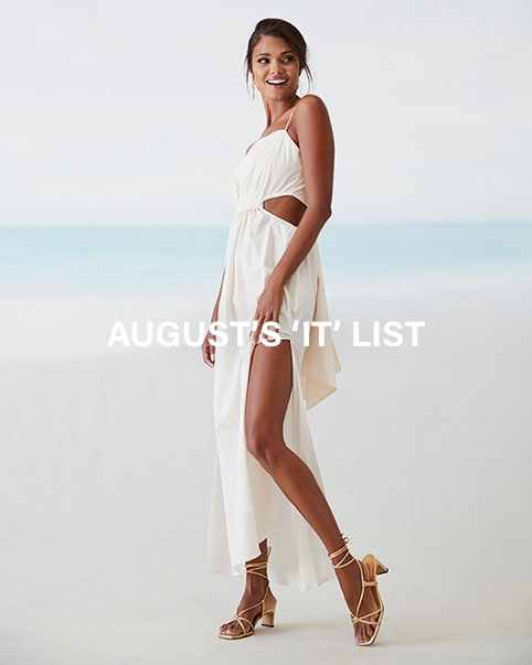 Four editorial images of models wearing white summer themed outfits. August's 'It' List. This month we're bringing you the most eye-catching, obsession-worthy styles you need in your rotation now. Shop the edit.