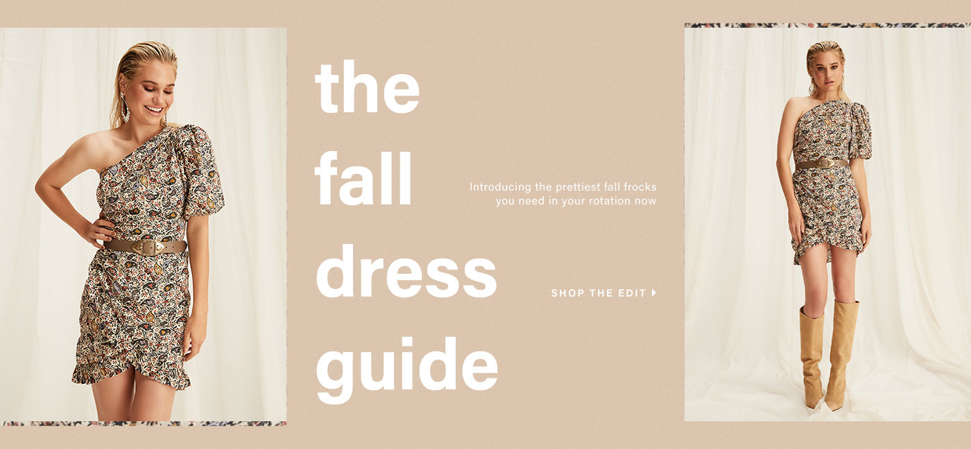 A model wearing a paisley print, one shoulder mini dress with a brown belt and tan knee-high boots. The Fall Dress Guide. Shop the Edit.