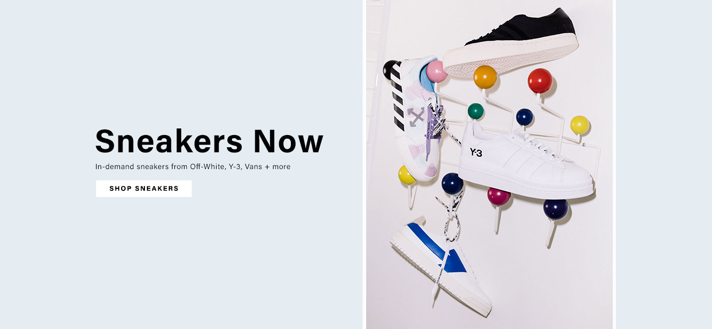 Sneakers on an art shoe rack from Off-White, Y-3 and more. Sneakers Now. Shop Now.