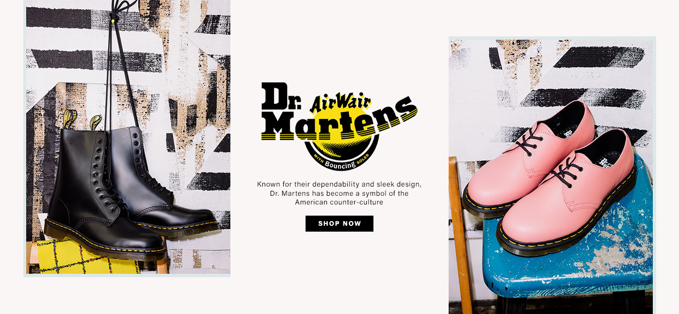 A photo of black Doc Martens hanging from a wall, and another photo of pink low top Doc Martens on a blue stool. Doc Martens. Shop Now.