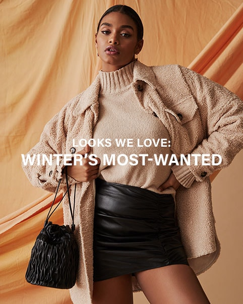 Three images of a model standing in front of an orange sheet background wearing a beige turtleneck sweater, a beige fuzzy button down jacket, a black leather mini skirt, and carrying a black bucket bag. Looks We Love: Winter's Most-Wanted. Shop the Edit.